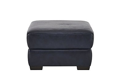 Calabria Leather Footstool in Ischia 10wg Ocean Blue on Furniture Village
