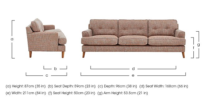 Line 3 Seater Fabric Sofa in  on Furniture Village