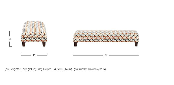 Line Fabric Footstool in  on Furniture Village