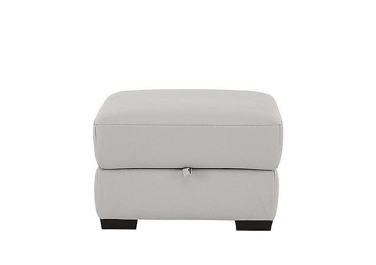Sensor Leather Footstool in Phoenix 15g3 Lgt Taupe Cs Whit on Furniture Village