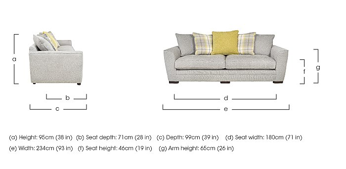 Wilton 4 Seater Fabric Pillow Back Sofa in  on Furniture Village