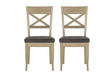 Pierre Pair of Cross Back Dining Chairs in Brown Bonded Leather Oak on Furniture Village