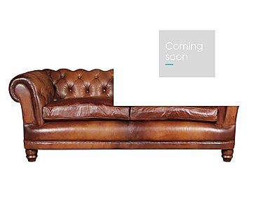 Chatsworth 3 Seater Leather Sofa in Bangkok Cognac Natural Feet on Furniture Village