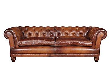 Chatsworth 4 Seater Leather Sofa in Bangkok Cognac Natural Feet on Furniture Village