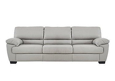 Alvera 3 Seater Leather Sofa in Denver 10bz Sg Medium Grey on Furniture Village