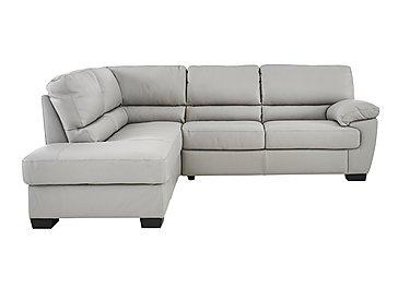 Alvera Leather Corner Sofa in Denver 10bz Sg Medium Grey on Furniture Village