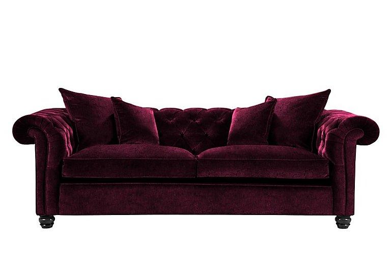 Curzon 4 Seater Fabric Sofa in Rembrandt Vel Alizarin Crimson on Furniture Village