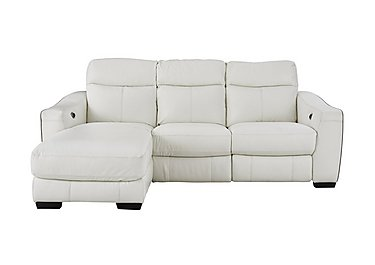 Cressida Leather Recliner Corner Chaise Sofa in Bv-744d Star White on Furniture Village
