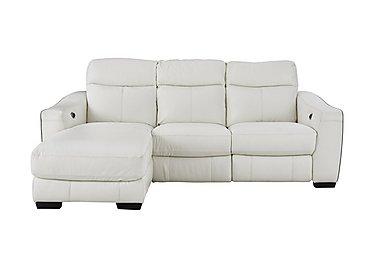 Cressida Leather Recliner Corner Chaise Sofa in Bv-744d Star White on Furniture Village