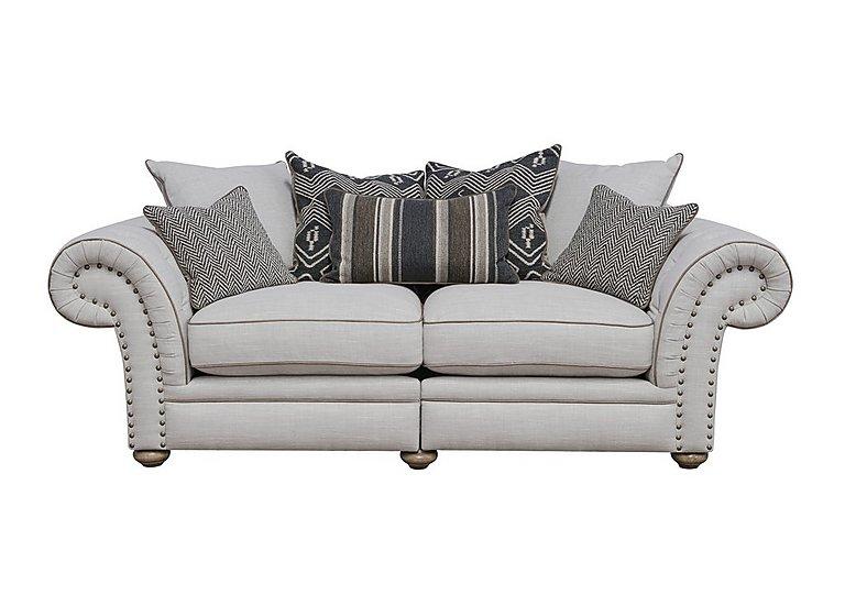 Langar 3 Seater Fabric Pillow Back Sofa in Merch Linen Cloud Light Feet on Furniture Village