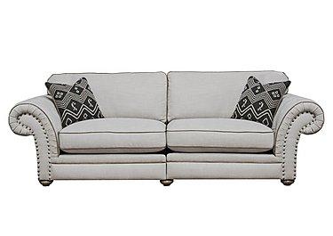 Langar 4 Seater Fabric Sofa in Merch Linen Cloud Light Feet on Furniture Village