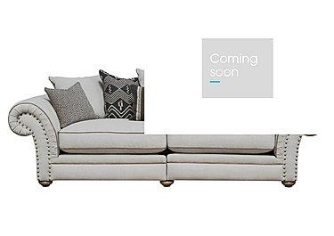 Langar 4 Seater Fabric Pillow Back Sofa in Merch Linen Cloud Light Feet on Furniture Village
