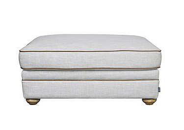Langar Footstool in Merch Linen Cloud Light Feet on Furniture Village