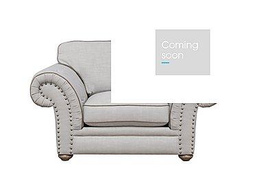 Langar Fabric Snuggler Chair in Merch Linen Cloud Light Feet on Furniture Village