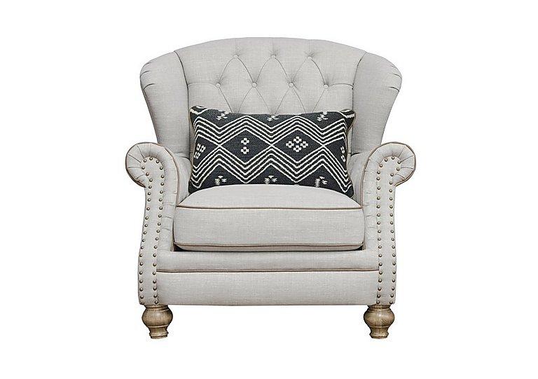 Langar Wing Chair in Merch Linen Cloud Light Feet on Furniture Village