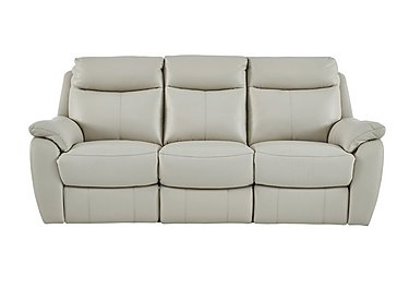 Snug 3 Seater Leather Recliner Sofa in Bv-946b Silver Grey on Furniture Village