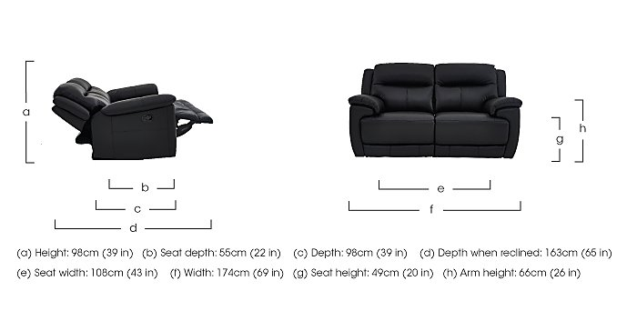 Touch 2 Seater Leather Recliner Sofa in  on Furniture Village