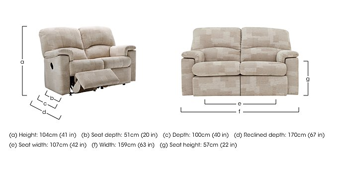 Chloe 2 Seater Fabric Recliner Sofa in  on Furniture Village