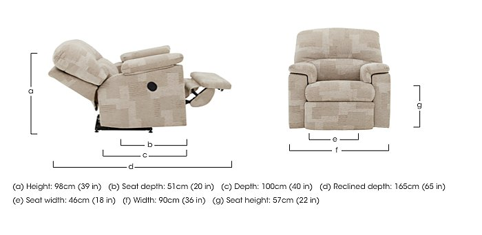 Chloe Small Fabric Recliner Armchair in  on Furniture Village