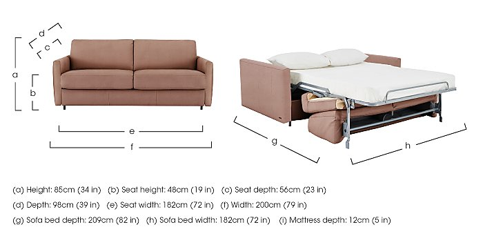 ... Couch Depth Alcova 3 Seater Fabric Sofa Bed With Slim Arms Nicoletti ...