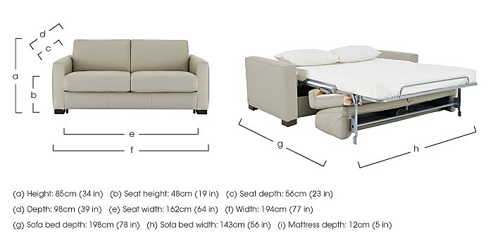 Alcova 2.5 Seater Leather Sofa Bed with Box Arms in  on Furniture Village