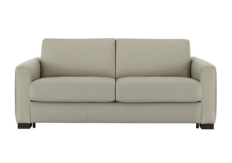 Alcova 3 Seater Leather Sofa Bed with Box Arms in 857 Tortora on Furniture Village
