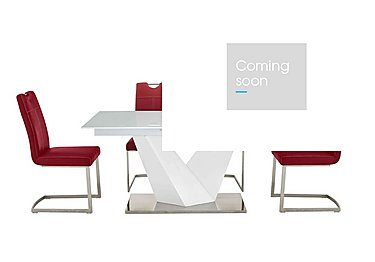 Panama White Dining Table and 4 Chairs in Red Chairs on Furniture Village