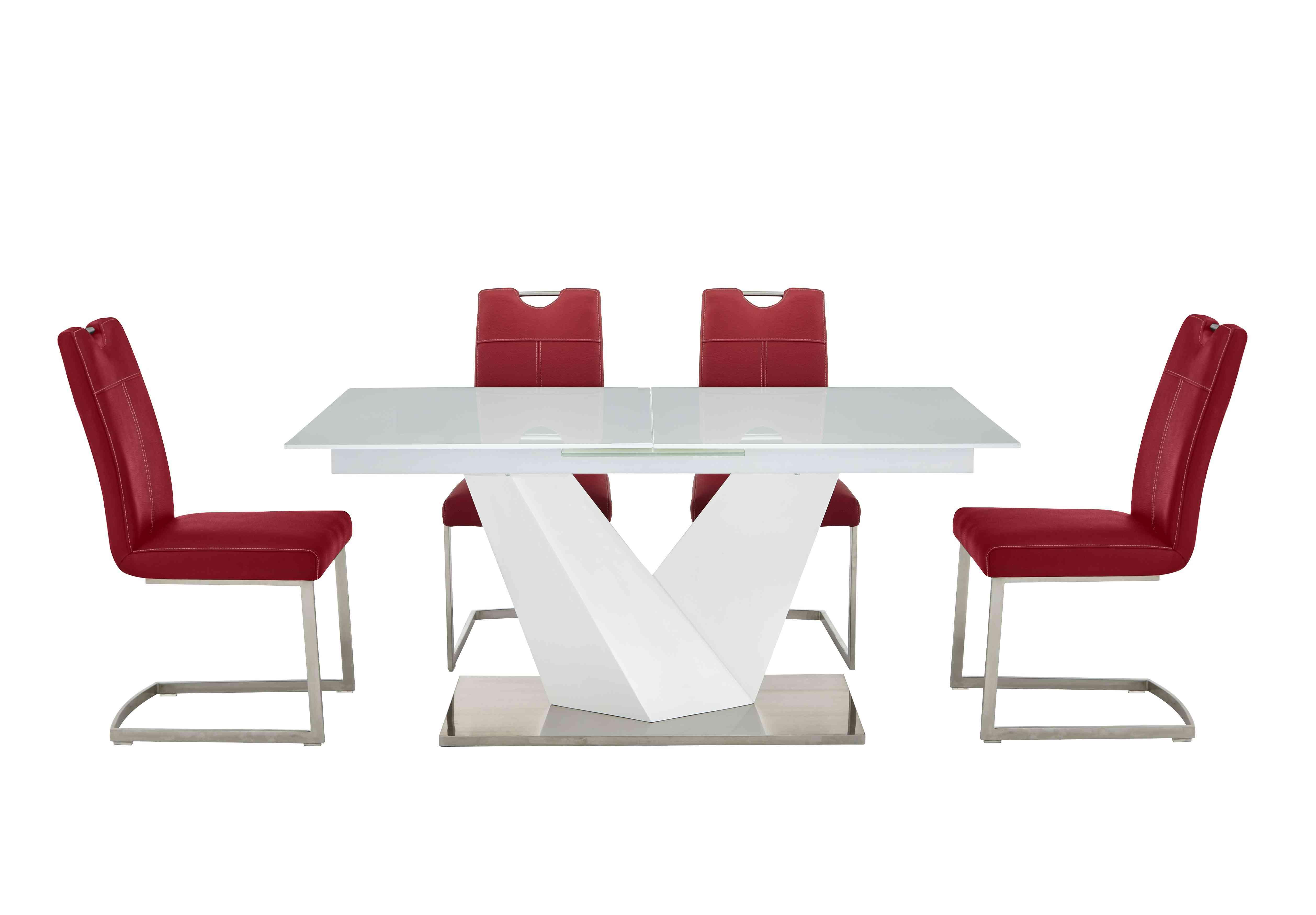 Habufa Panama White Dining Table And 4 Chairs