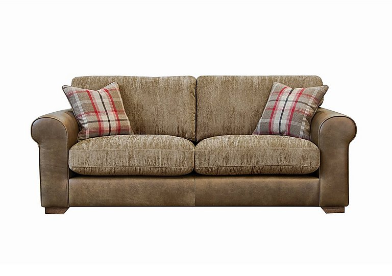 Highland 3 Seater Leather Sofa in Byron Buckle Archie Mink Wo on Furniture Village