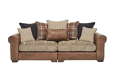 Highland 4 Seater Leather Pillow Back Sofa in Byron Buckle Opt 1 Wo on Furniture Village