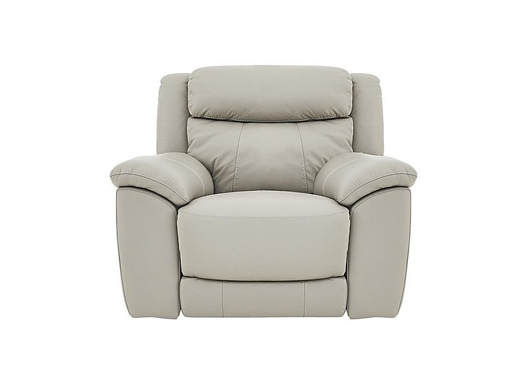 Bounce Leather Recliner Armchair in Bv-946b Silver Grey on Furniture Village