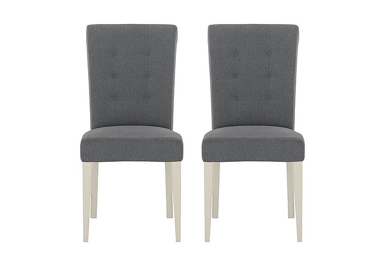 Pierre Pair of Upholstered Dining Chairs in Blue Fabric Antique White on Furniture Village