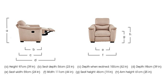 Flex Fabric Recliner Armchair in  on Furniture Village
