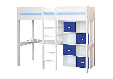 Kool High Sleeper Bed With Desk and 2 Cube Units in Blue on Furniture Village