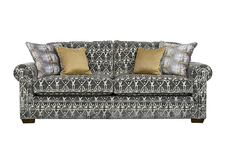 The Derwent Collection Eastmoor 4 Seater Fabric Sofa in 2378-95 Ikat Silver on Furniture Village