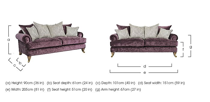 The Derwent Collection Bradwell 3 Seater Fabric Sofa in  on Furniture Village