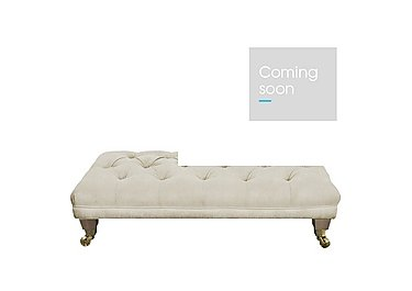 The Derwent Collection Fabric Buttoned Footstool in 1341-51 Vista Oyster on Furniture Village