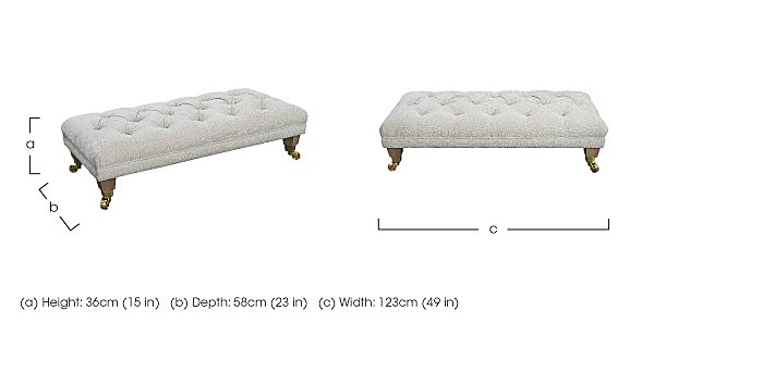 The Derwent Collection Fabric Buttoned Footstool in  on Furniture Village