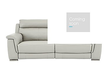 Glider 3 Seater Leather Recliner Sofa - Only One Left! in An-041e Oyster Grey on Furniture Village