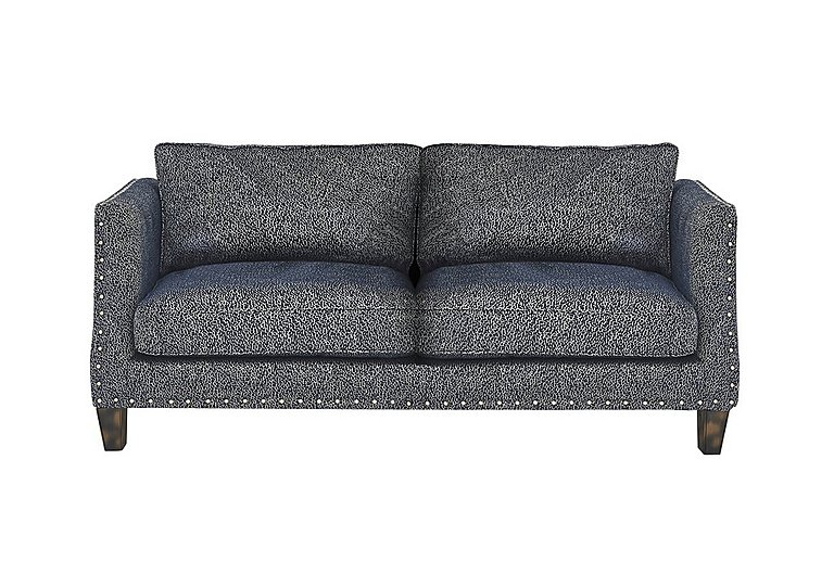 Genevieve 3 Seater Fabric Sofa with Stud Details in Garbo Mosaic Midnight Bg on Furniture Village