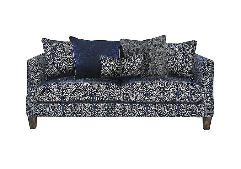 Genevieve 3 Seater Fabric Pillow Back Sofa in Garbo Damask Midnight Bg on Furniture Village