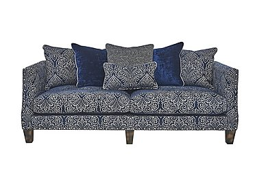 Genevieve 4 Seater Fabric Pillow Back Sofa with Stud Details in Garbo Damask Midnight Bg on Furniture Village