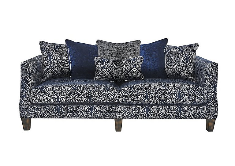 Genevieve 4 Seater Fabric Pillow Back Sofa in Garbo Damask Midnight Bg on Furniture Village