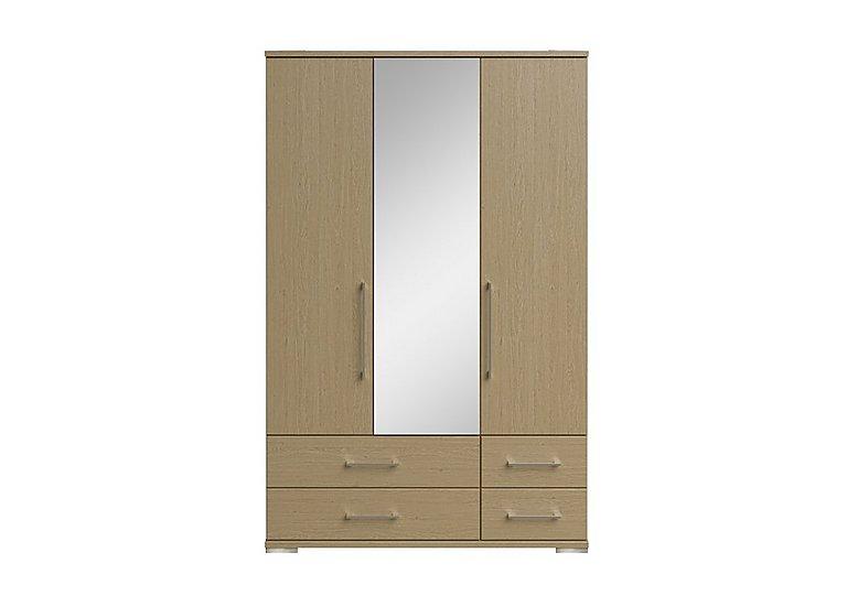 Amalfi 3 Door Centre Mirror Gents Wardrobe in Aoov Odessa Oak/Oak Woodgrain on Furniture Village
