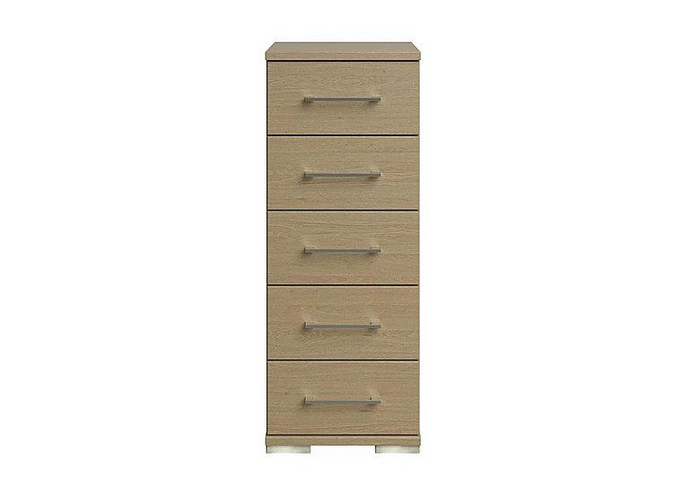 Amalfi 5 Drawer Narrow Chest in Aoov Odessa Oak/Oak Woodgrain on Furniture Village