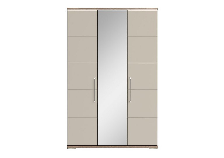 Cordoba 3 Door Centre Mirror Wardrobe in Ckmv King Oak/Moonlight Gloss on Furniture Village