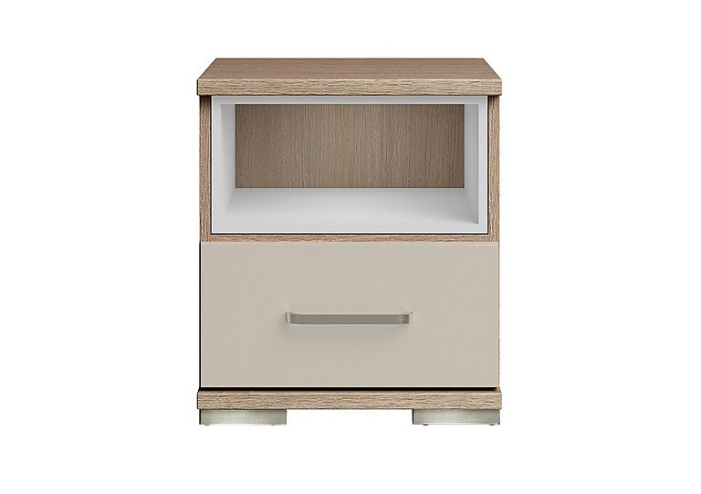 Cordoba 1 Drawer Bedside Table in Ckmv King Oak/Moonlight Gloss on Furniture Village