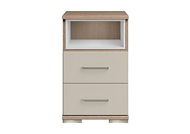 Cordoba 2 Drawer Bedside Table in Ckmv King Oak/Moonlight Gloss on Furniture Village