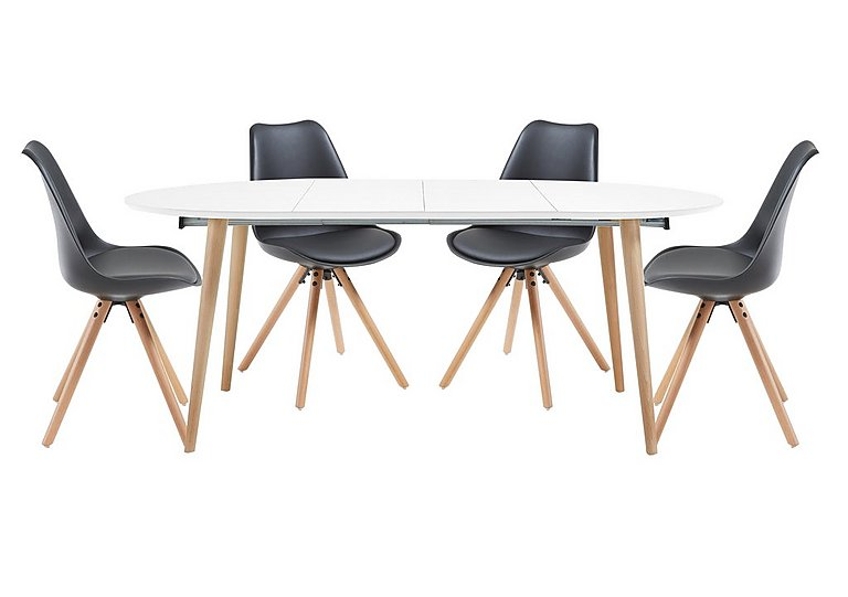 Espen Extending Oval Table 120/200cm and 4 Dining Chairs in Black on Furniture Village