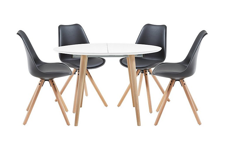 Espen Extending Round Table and 4 Dining Chairs in Black on Furniture Village